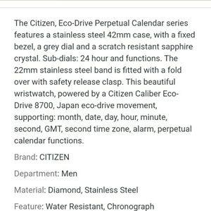 Citizen Accessories - Citizen Eco Drive Watch - Calibre 8700
